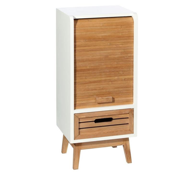 Mueble auxiliar en madera y dm 1 caj n 25 x 30 x 69 5 cm for Mueble 25 cm ancho