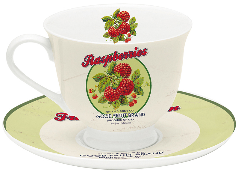 Taza de t c plato fruit porcelana blanca 200ml for Platos porcelana blanca